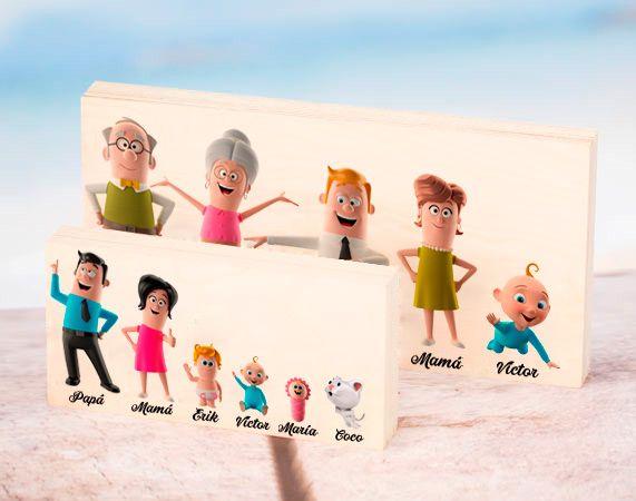 Madera personalizada con los miembros de la familia en 3D