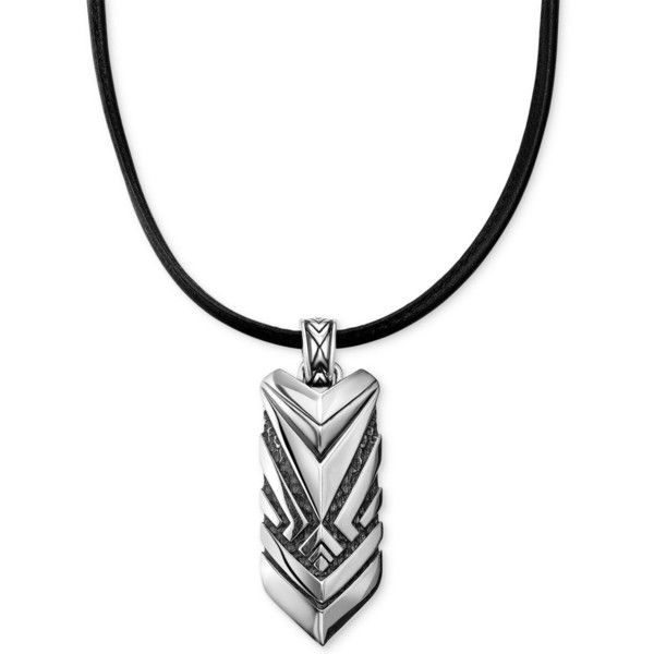 Scott Kay Men's Hematite Accent Black Leather Cord Chevron Pendant... ($350) ❤ liked on Polyvore featuring men's fashion, men's jewelry, men's necklaces, silver, mens sterling silver necklaces, mens hematite necklace, mens pendant necklace, mens beaded necklaces and scott kay mens necklace
