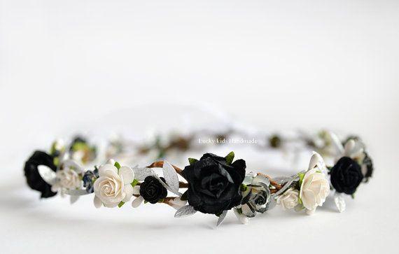Black and White flower crown  Grey wedding by LuckyKidsHandmade