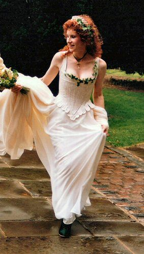 Rossetti Costumes and Bridal Gowns - 18th Century Style Corset in ivory brocade with ivy leaves
