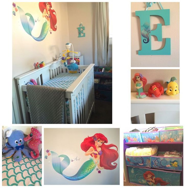 My daughter's little mermaid nursery which includes an ocean theme decor. Her crib has mermaid scale sheets in the color turquoise, as well as a whale mobile and octopus plush toy. I have a little mermaid storage which is perfect for diapers, bibs, and baby toys. All of my decor finds were at your local Walmart, target, and toys r us.