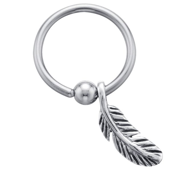 Feather - 925 Sterling Silver Sliding Charm Captive Bead Ring - 16 Gauge
