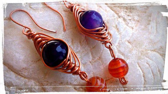 Wire wrapped dangle earrings HERRINGBONE by SueEllenDreamland