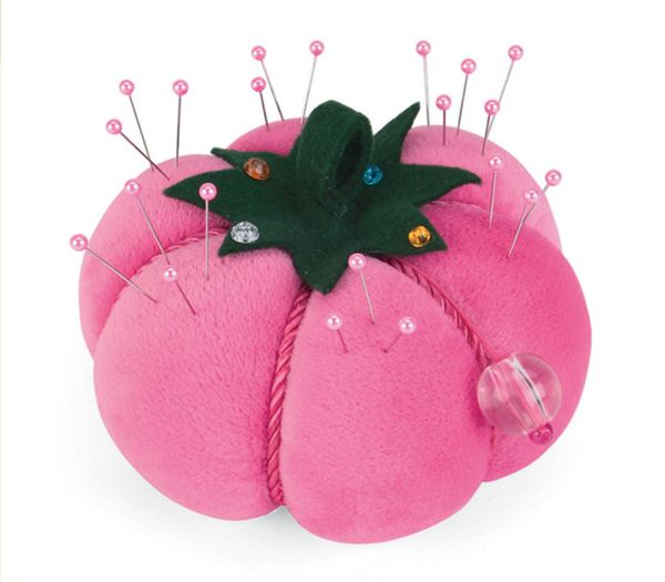 Large Pink Tomato Pincushion with Pins