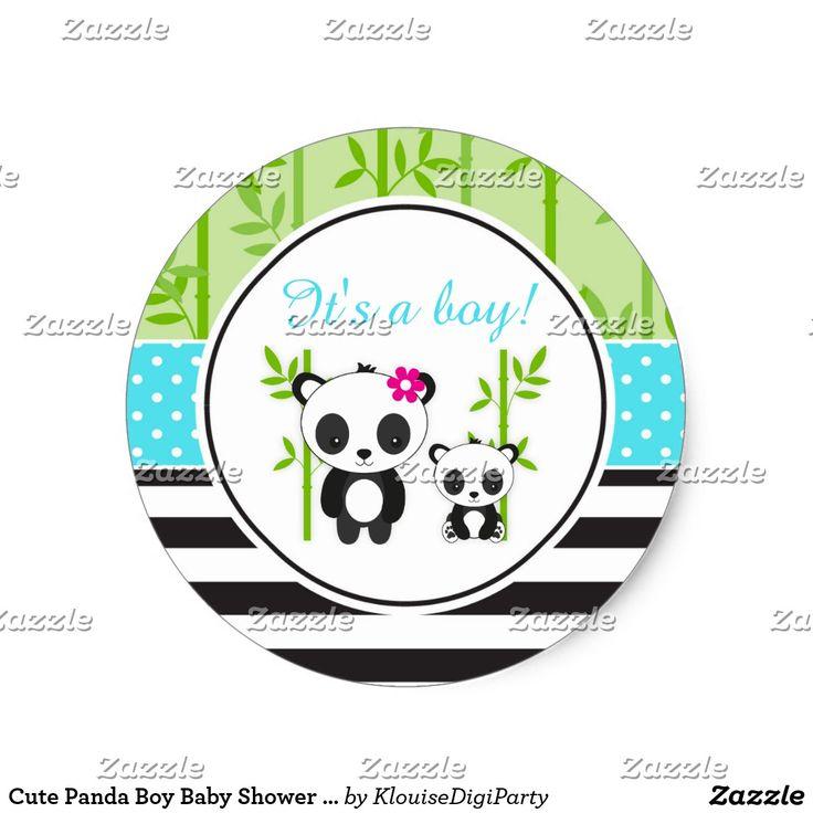 Cute Panda Boy Baby Shower It's A Boy Classic Round Sticker