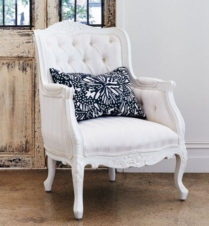 Baroque Wing Back Arm Chair  - White Stripe