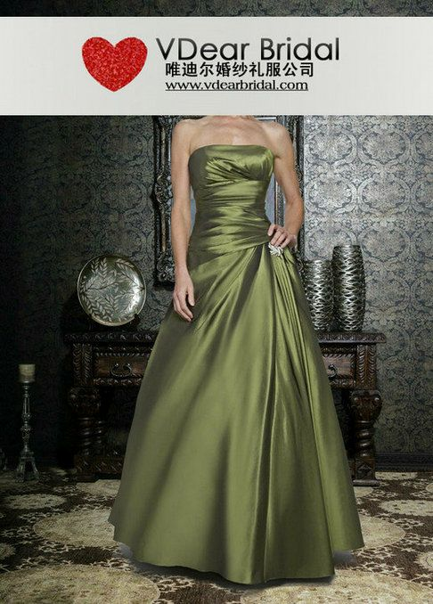 purple and olive green bridesmaides dresses   Line Strapless Olive Green Special Occasion Dresses 13SD097 ...