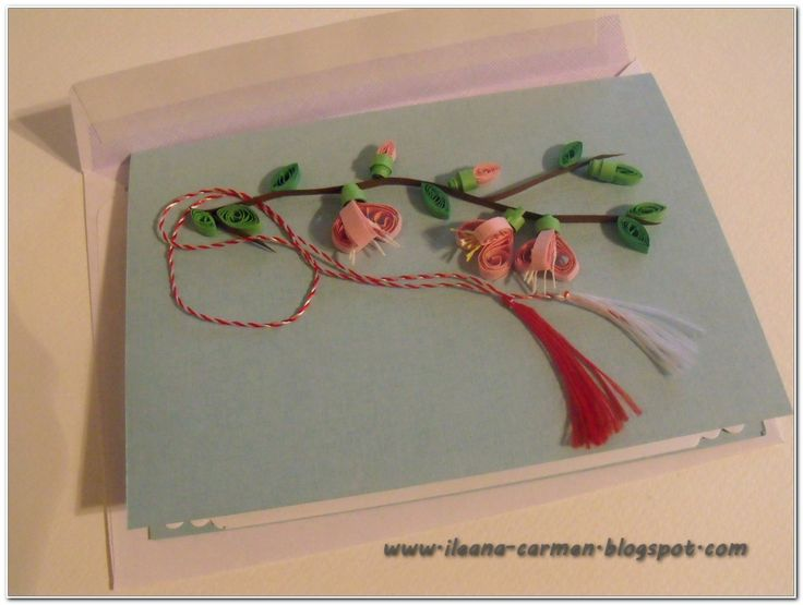 Quilling Card with Blomming Flowers for Celebration of 1-st March in Romania.