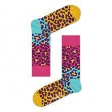 Happy Socks žluto-růžové dámské ponožky Leopard