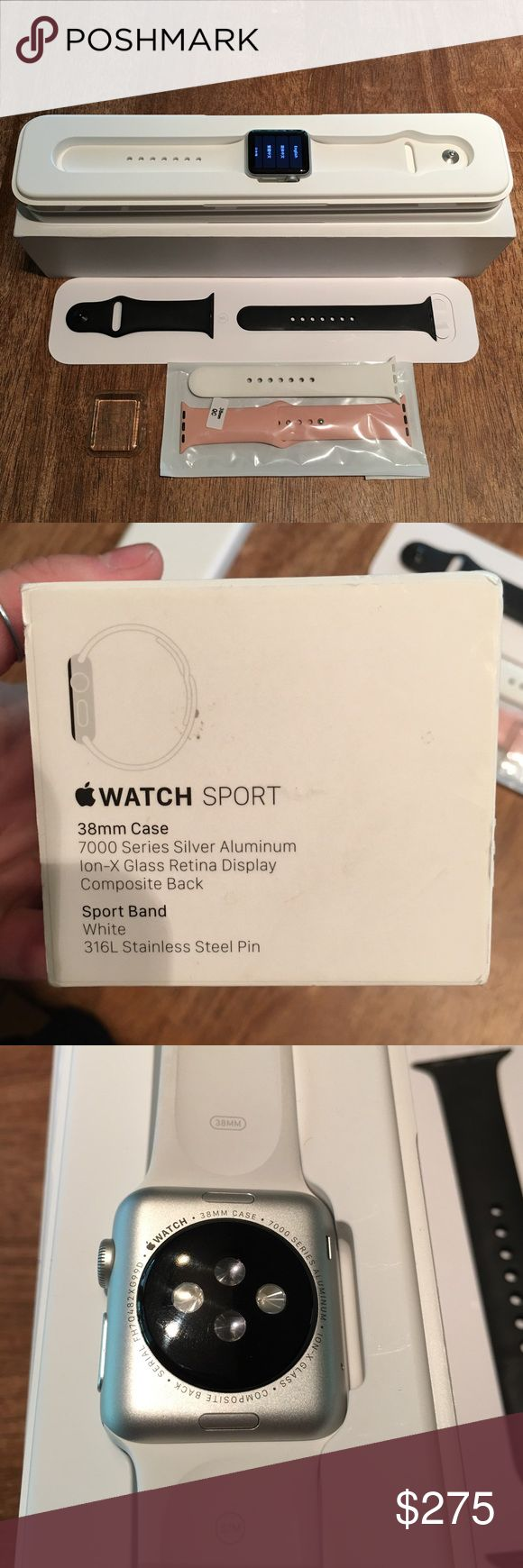 Apple Watch Sport 38mm 38mm, Sport, comes with the original band (S/M & M/L) plus an extra black (authentic) sport band, and a pink band. Also comes with a screen protector case, and the original charger. Does not come with the wall adapter. Has a small scuff on the top left corner, not noticeable at all and doesn't affect the use of the Watch. I will not negotiate in the comments - use the offer button. ❤️Please note that the listing on my page for the same Watch was a fraudulent order and…