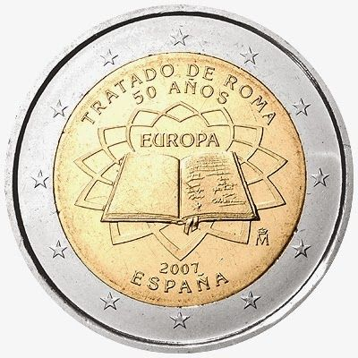 2 Euro Commemorative Coins: 2 euro coins Spain 2007, 50th anniversary of the Treaty of Rome. Commemorative 2 euro coins from Spain