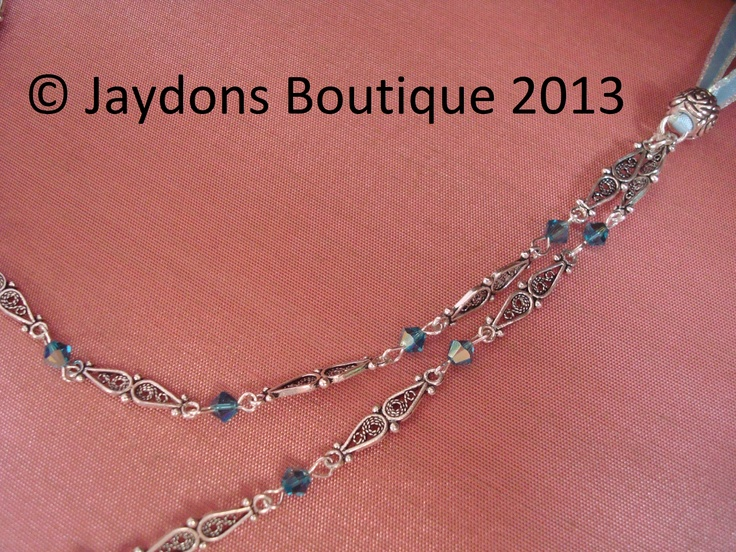Sterling Silver, Marcasite, Ribbon Double Chain Necklace x