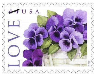 Pansies in a basket love stamp
