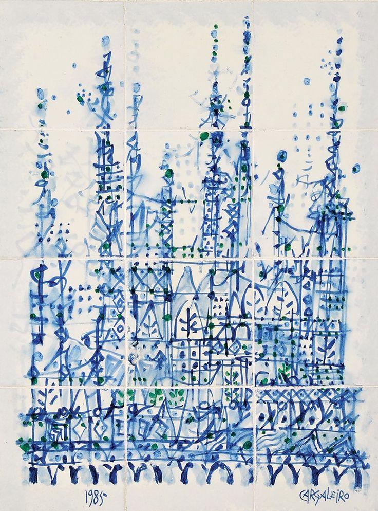 """MANUEL CARGALEIRO -""""sem título"""" - pintura sobre painel de 12 azulejos"""