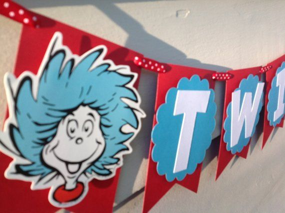 3ad84e708ea67 Thing 1 Thing 2 Cat in the Hat Inspired Twins Banner Baby Shower ...