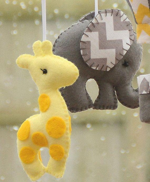 Nursery Mobile Giraffe Elephant Mobile Hot Air by FlossyTots