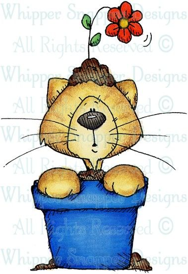 Potted Kitty - Cats - Animals - Rubber Stamps - Shop