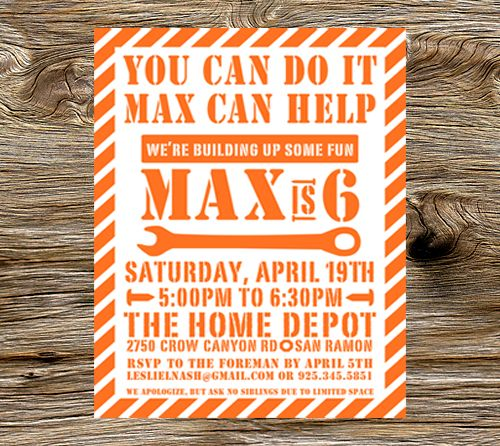 Max is 6   Home Depot Birthday Party   Leslie Nash Designs