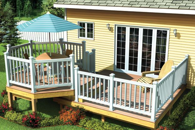 Charming octagon shaped seating area is found on this deck for Octagon deck plans free