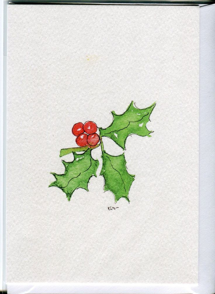 Holly- Christmas card-handmade from an original watercolour painting. £2.50, via Etsy.