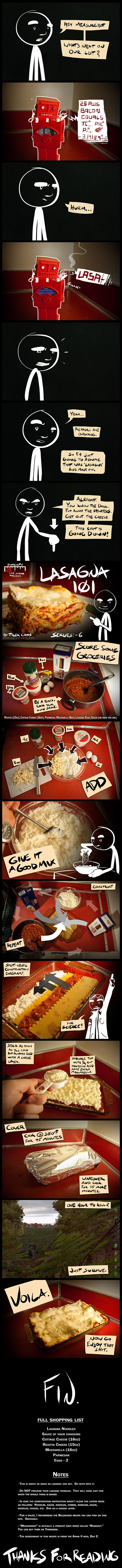 Lasagna 101- Cooking Comically. If you have time to kill, go read this blog, each recipe. Whether or not it sounds appetizing. Seriously. Do it.