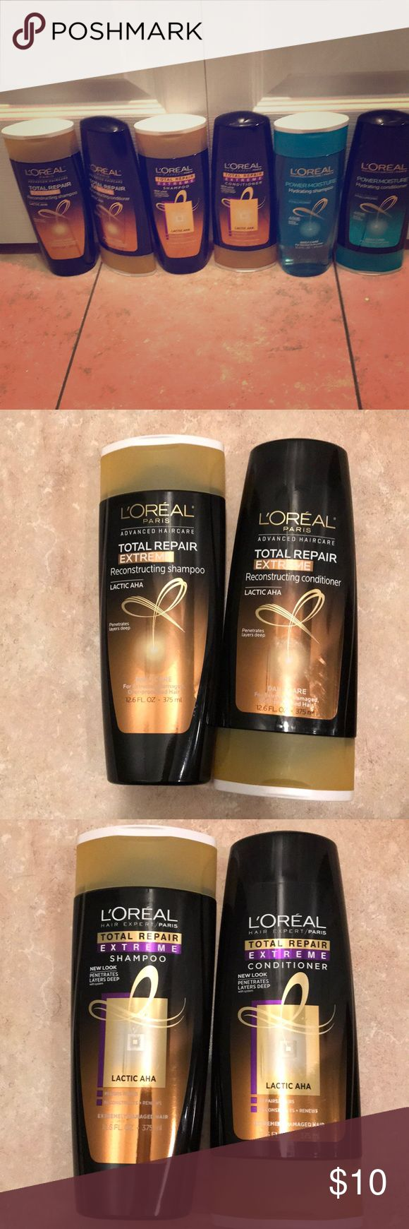 SALE!🎉 Set of 4 Loreal hair care items! 4 never before open hair care items! 4 extreme repair (2 shampoo & 2 conditioner)! L'Oreal Accessories Hair Accessories