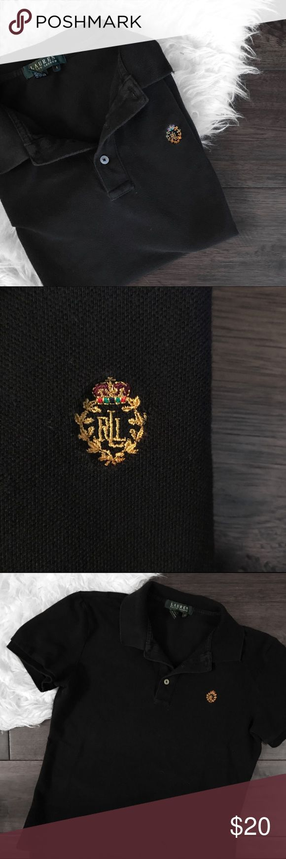 Vintage Lauren by Ralph Lauren Black Polo Shirt Extremely rare vintage black polo shirt from Lauren by Ralph Lauren featuring regal embroidered gold crest logo and crown. One hundred percent cotton, size small, and in good condition. Lauren Ralph Lauren Tops Button Down Shirts