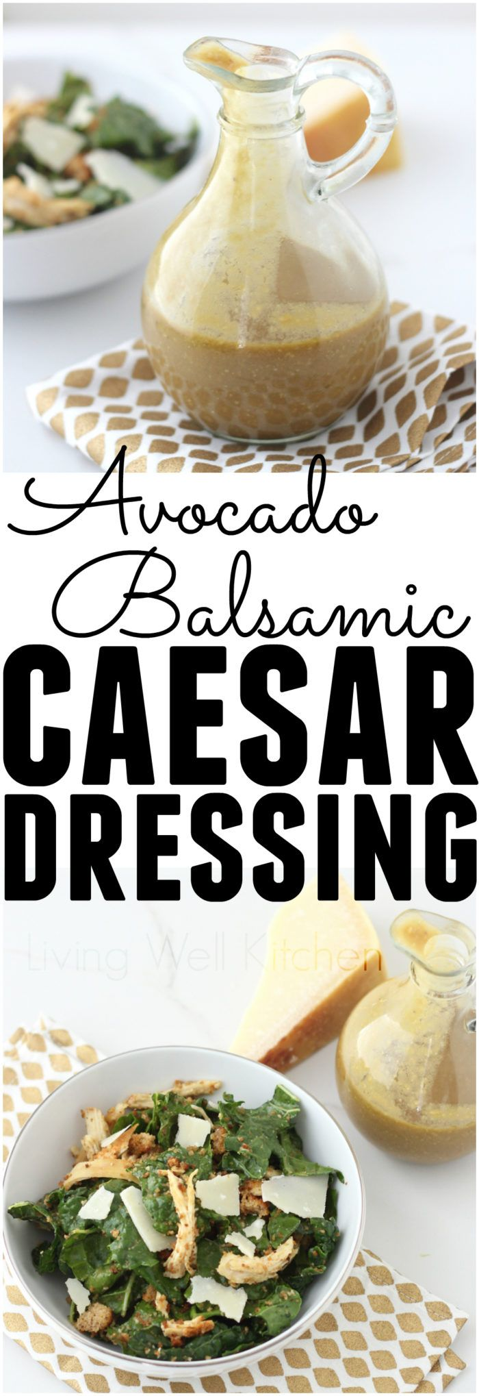 Avocado Balsamic Caesar Dressing from @memeinge is a new version of the classic caesar dressing with all your favorite flavors and a few new additions. This healthy Caesar salad dressing recipe is made without eggs but is still just as rich, creamy and delicious