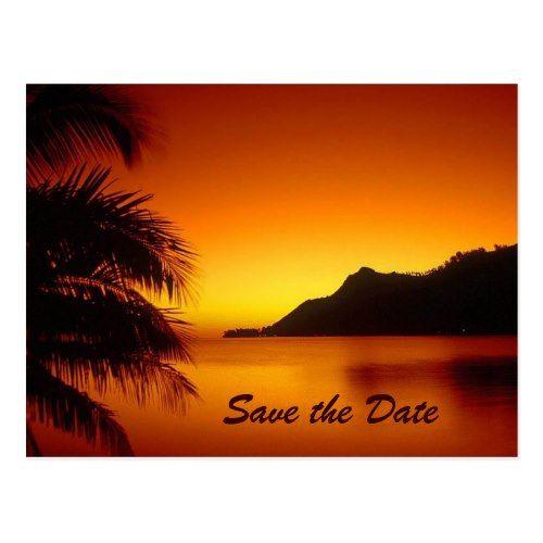 Sunset Wedding Save the Date Cards Destination Wedding Tropical Sunset Save the Date Postcard