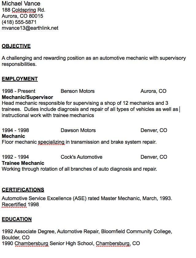 Automotive Mechanic Resume Sample - http\/\/resumesdesign - automotive mechanic resume