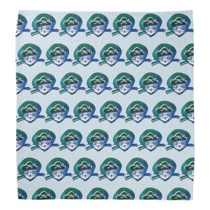 cat pirate cartoon style funny illustration bandana - blue gifts style giftidea diy cyo
