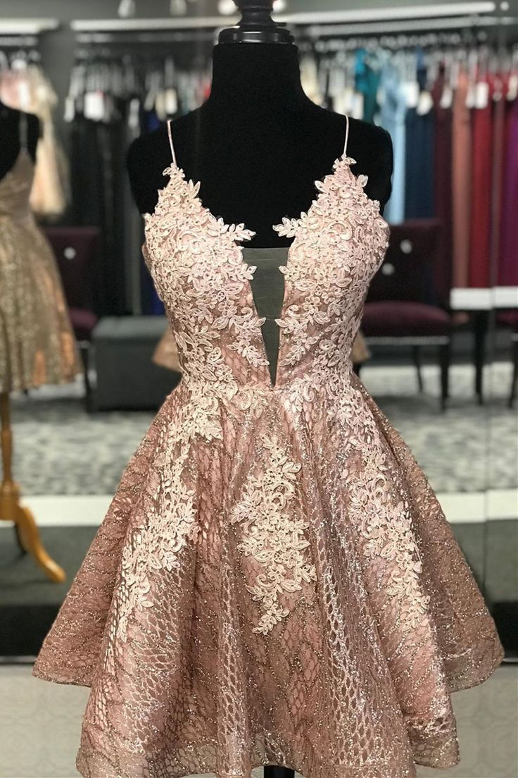 Lace Short Homecoming Dress with Criss Cross Back,LV1329 – Outfits
