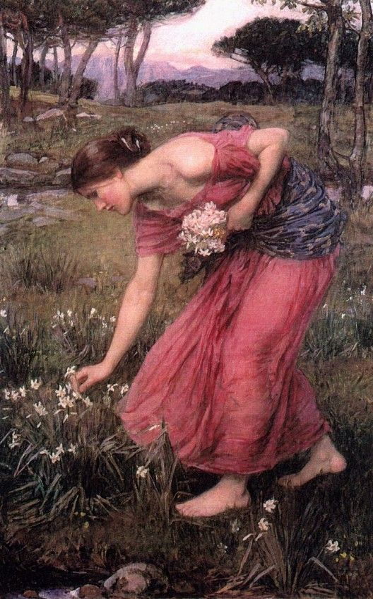 Narcissus - John William Waterhouse, 1912. so I guess this would be Persephone picking the narcissus flower which then led to the crack in the earth which Hades kidnapped her from...
