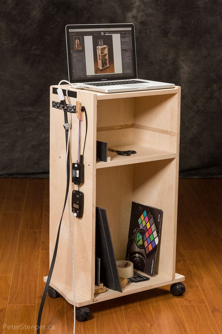 https://flic.kr/p/dRZejS | DIY Studio-3142 | This is a computer cart I built for tethered shooting. It has a velcro strip on the side to hold cables and hooks for a lightmeter and the remote for the studio lights. The HDMI cable connects a large monitor. The shelf is for the camera while I'm adjusting something.