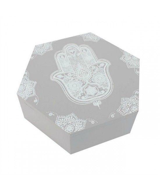 Cutie realizata din lemn, forma hexanonala, imprimata cu elementul Hamsa.   #cadouri #nunta  #decoratiuni