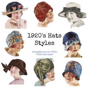 1920s Hat Styles for Women  Beyond the Cloche Hat  http://www.vintagedancer.com/1920s/1920s-hats-styles/