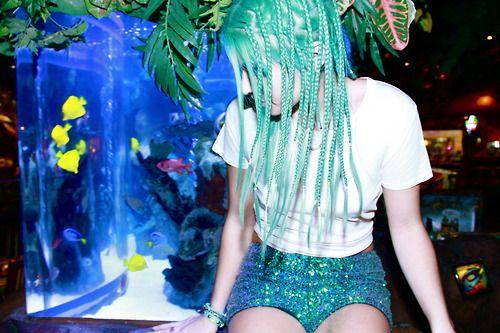 Glitter shorts, aqua dreads!