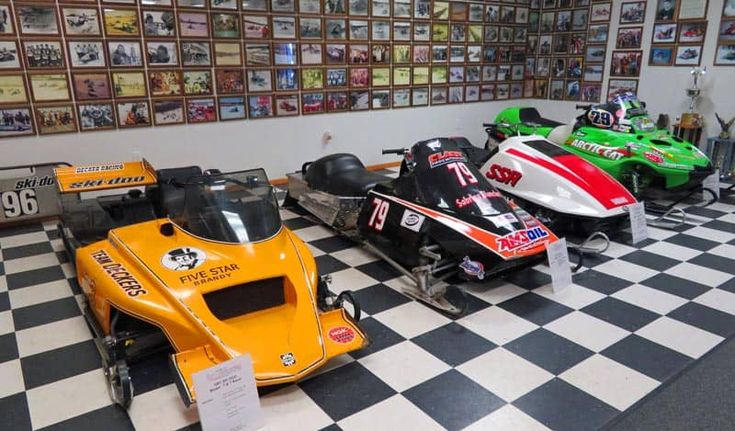 Lots of twin track #snowmobiles at the Antique Snowmobile Club of America Snowmobile Museum (ASCOA) at World Snowmobile Headquarters in Eagle River, #Wisconsin #TravelWI @TravelWi #travel #museums