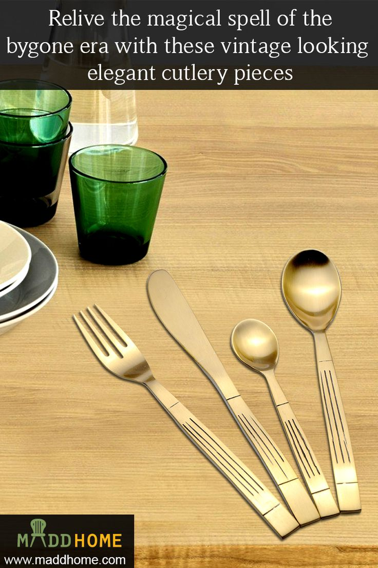 Relive the magical spell of the bygone era with these vintage looking elegant cutlery pieces.   Find the best deal @  https://www.maddhome.com/brass-antique-embossed-cutlery-set-1358.html