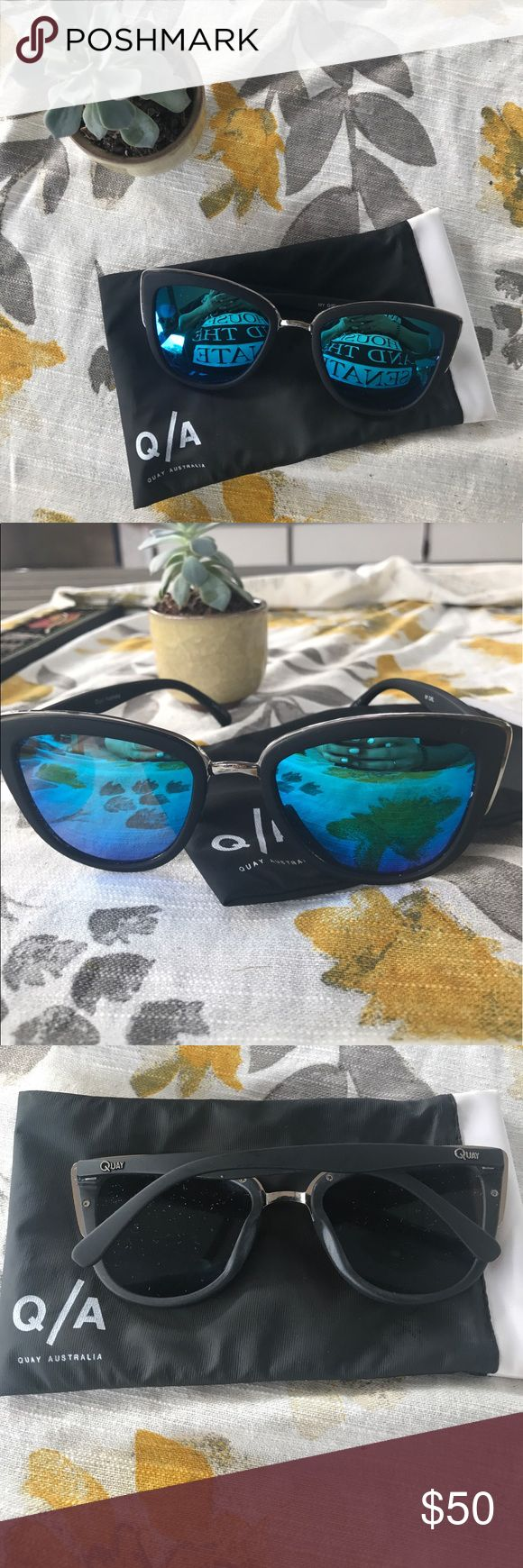 "Quay sunglasses Quay sunglasses in style ""my girl."" Oversized cat eye glasses in black color with blue reflective shade Quay Australia Accessories Sunglasses"