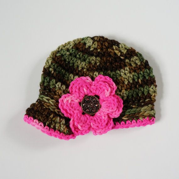 Camo Baby Girl Hat Crochet Camouflage and Pink Newsboy Women Children Kids  on Etsy 29b0a0cca576