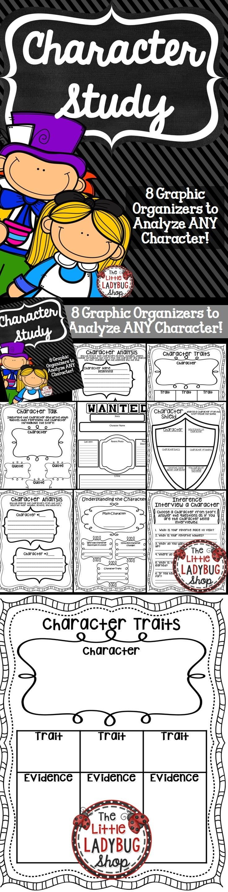 Character Study {Graphic Organizers NO PREP} | Character Study | Characters | NO PREP   This packet contains 8 Character Study Graphic Organizers {No Prep} to use with ANY Fiction, Fairytale, Fable, Novels, etc.   Click to GRAB yours now!!