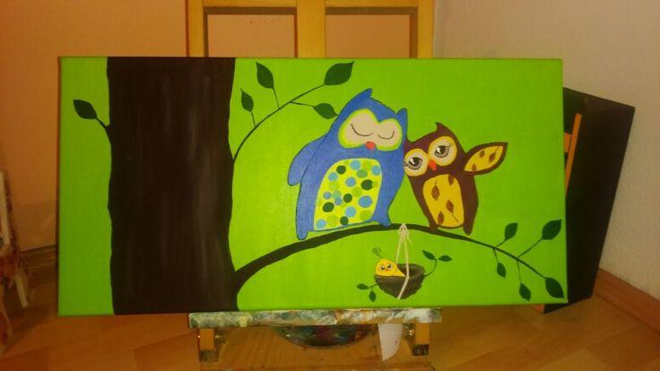 Owls, Acrylic, 40x90