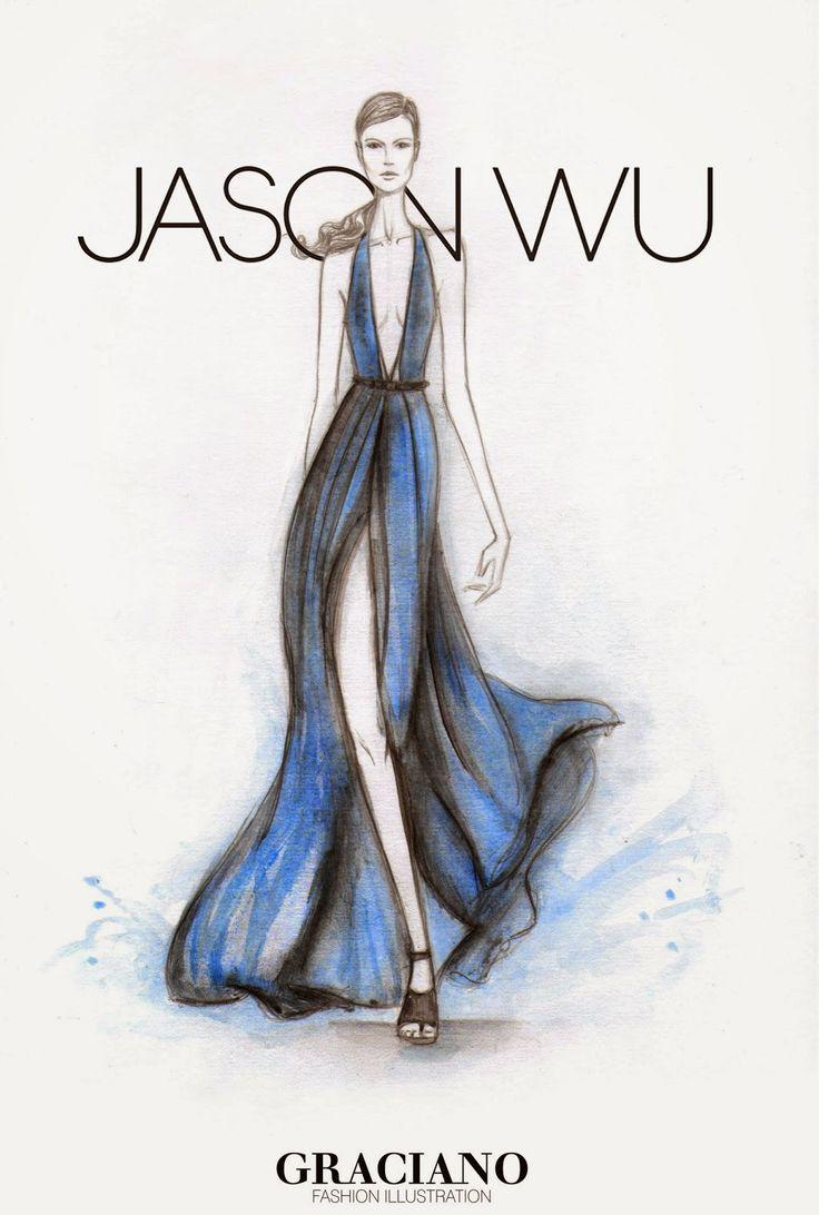 #JASONWU SPRING 2015 #NYFW by #GRACIANO #fashionillustration
