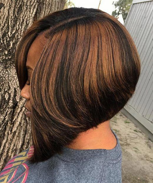 A Line Bob With Chocolate Brown Highlights
