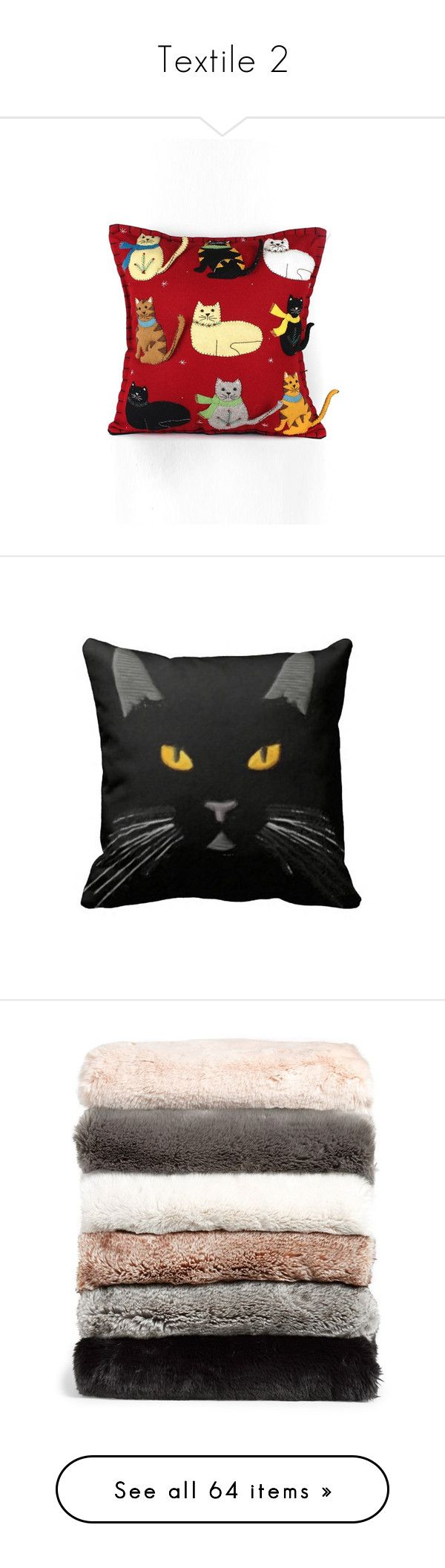 """Textile 2"" by michal100-15-4 ❤ liked on Polyvore featuring home, home decor, throw pillows, red, red throw pillows, cat home decor, red toss pillows, cat throw pillow, winter throw pillows and black home decor"
