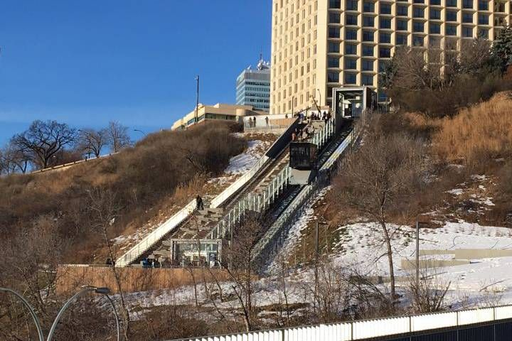 The inclined elevator takes visitors from 100 Street by the Hotel Macdonald to the area around the Low Level Bridge.