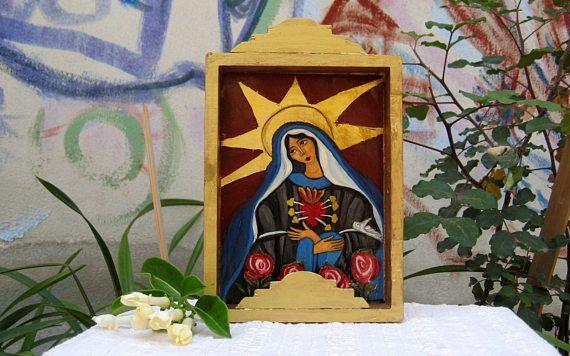Retablo painting  Seven Arrows Mother of God Folk art Nicho