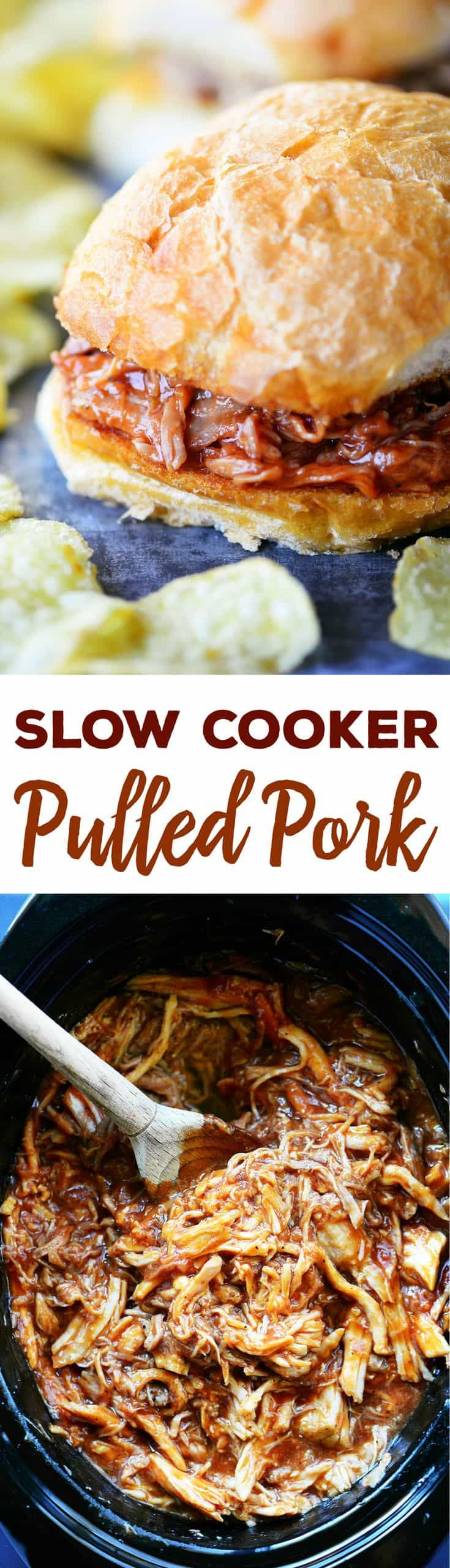 Easy Slow Cooker Pulled Pork recipe with only 4 ingredients! Cooks in the crock pot in 3-4 hours on high. Perfect for sandwiches, pork tacos, and pork fried rice. #slowcookerrecipes #pulledpork