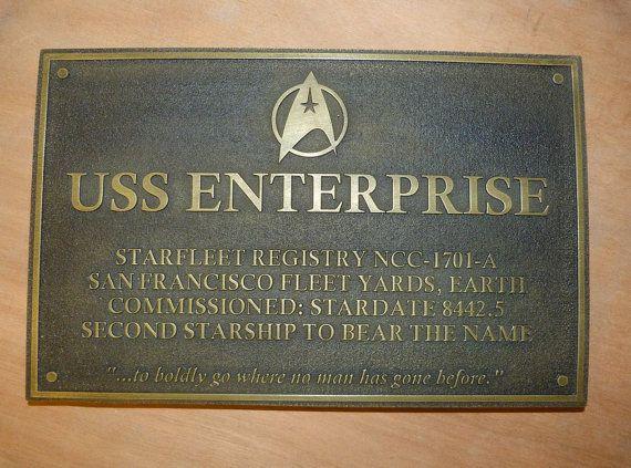 Star Trek uss Enterprise dedication plaque prop replica
